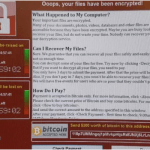 Screen shot of WannaCrypt screen