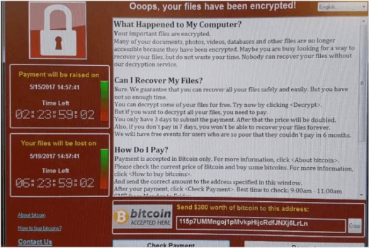 Screen shot of WannaCrypt screen